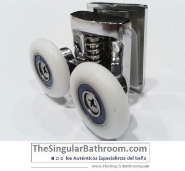 Doble rodamiento de ducha, para puertas correderas