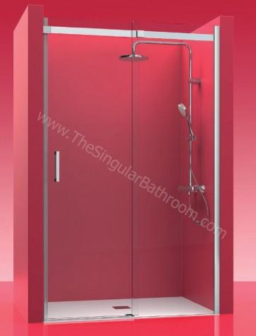Mampara acero inox. Frontal fijo + puerta corredera. CASTEL ELEGANT