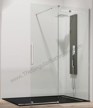 Mampara Acero inox. frontal fijo + puerta corredera