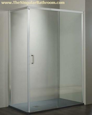 Fotos De Platos De Ducha Con Mampara.Mampara De Ducha Rectangular Con Puerta Corredera Y Un Fijo Lateral Con Cierre Al Vertice En Aluminio