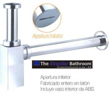 Sifón para lavabo visto diseño cuadrado acabado cromado