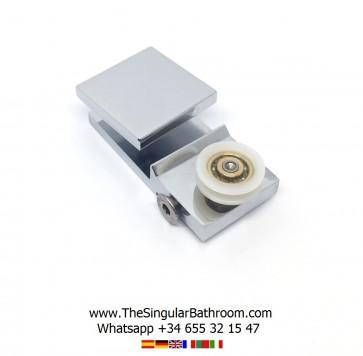 Soporte metálico con polea para puerta de mampara corredera
