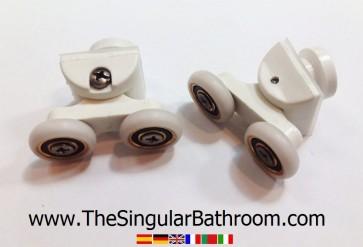Pieza con doble rueda para puerta de ducha