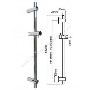 Barra soporte de ducha para cabina de ducha e hidromasaje y pared