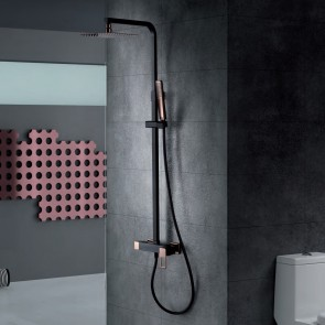 Columna de ducha monomando SUECIA en color Negro y Oro Rosa