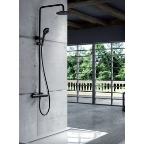 Conjunto ducha termostática LONDRES en color negro mate
