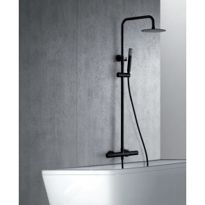 Columna de ducha y bañera termostática LINE color negro
