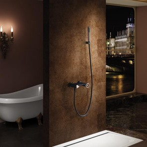 Grifo de ducha y bañera monomando OLIMPO color Negro y Oro Rosa