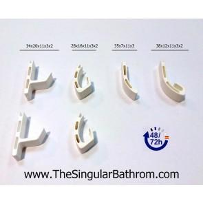 Repuesto guía plástico para puerta de ducha inferior Kassandra, Mileto, Luxban, Ceamar, Maxiban, Seviban, Vital bath