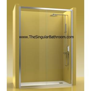 Mampara de ducha frontal con un fijo y una puerta corredera
