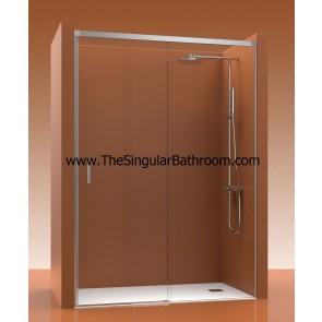 Mampara de ducha frontal con un fijos y una puerta corredera