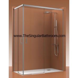 Mampara de ducha frontal con dos fijos y dos puertas correderas ALUMINIO COSMOS.