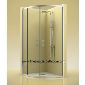 Mampara de ducha frontal con dos fijos y dos puertas correderas
