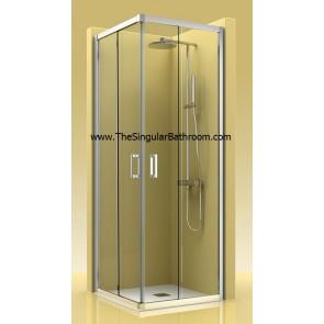 Mampara de ducha frontal con dos fijo y dos puertas correderas