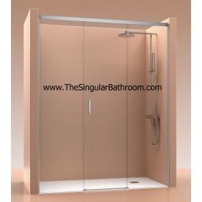 Mampara de ducha frontal con dos fijos y una puerta corredera