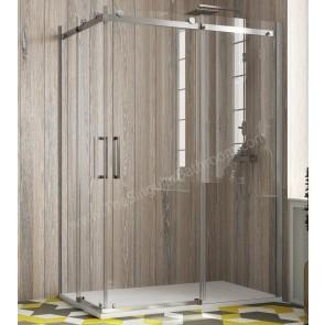 Mampara ducha Angular KASSANDRA LIBERTY ACERO INOX. 2 fijos + 2 puertas correderas