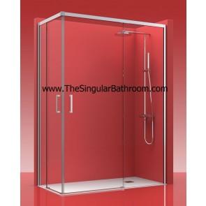 Mampara de ducha frontal con dos fijos y dos puertas corredera ALUMINIO