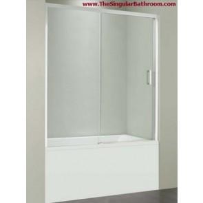 Mampara de bañera frontal de una puerta corredera y panel fijo