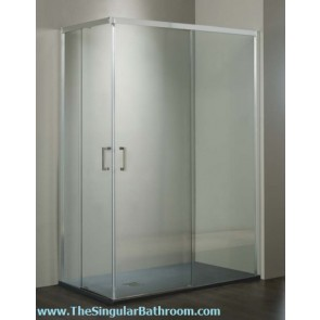 Mampara de ducha angular con vidrio de seguridad transparente