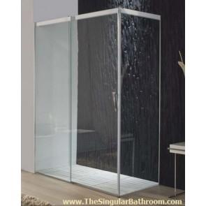 Mampara de ducha rectangular de 3 hojas en vidrio transparente economica
