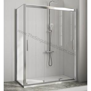 Mampara de ducha frontal KASSANDRA CITY de 3 puertas correderas + lateral fijo