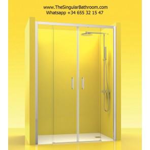 Mampara de ducha frontal con dos fijos y dos puertas correderas en ACERO INOX