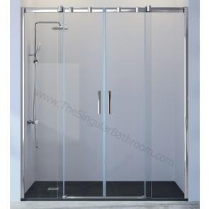 Mampara ducha KASSANDRA TRIANA frontal 2 fijos + 2 puertas correderas
