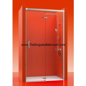Mampara de ducha frontal con un fijo y una puerta corredera LUXURY 100