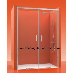 Mampara de ducha frontal con dos fijos y dos puerta corredera ACERO INOXIDABLE