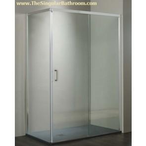Mampara de rincon para plato de ducha rectangular con una puerta corredera y un fijo + Lateral cierre al vertice economica