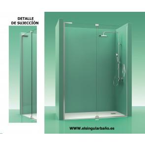 Mampara ducha acero inox sin perfiles puerta mas abatible