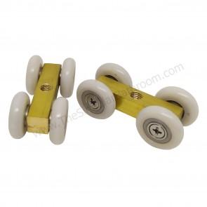 Sistema de 4 rodamientos para puerta corredera