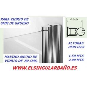 Perfil para mampara ducha y bañera 1.50 Y 2.00 MTS PLATA BRILLO