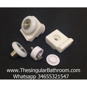Pieza de plástico para mampara de baño con rodamiento.