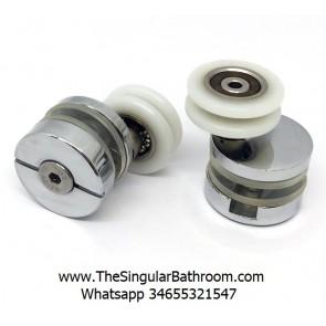 Polea excéntrica para cabina y mampara de ducha con rodamiento de polea 24 mm.