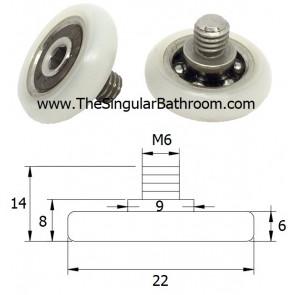Rodamiento para mampara de ducha de 22 mm