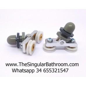 Soporte metálico patin con doble polea para puerta mampara de ducha