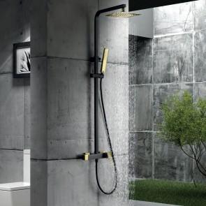Columna de ducha monomando SUECIA en color Negro y Oro brillo