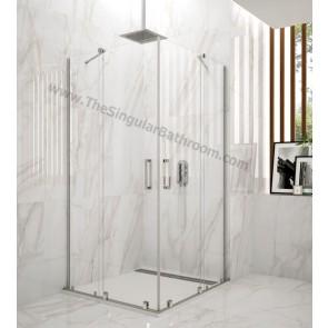Mampara de ducha VITRO angular 2 fijos + 2 correderas