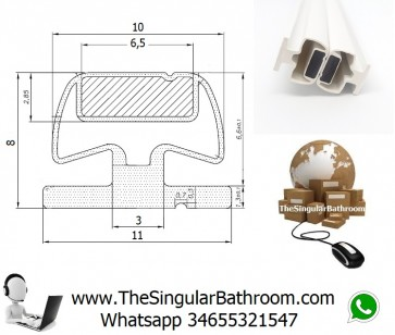 Magnetic rubber for shower door